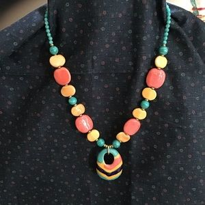"Jewelry - Kazuri bead pendant necklace 22"""